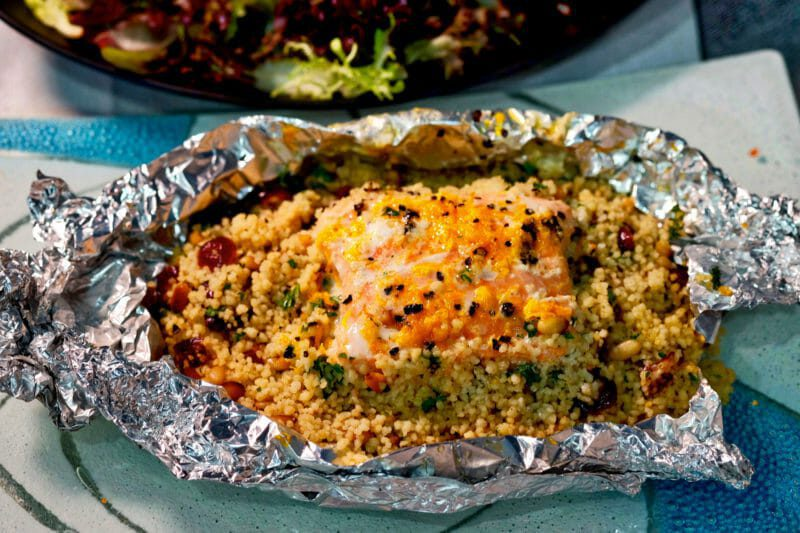 Baked salmon fruit and nut couscous Inspired by the flavors of the Mediterranean Main Course Seafood