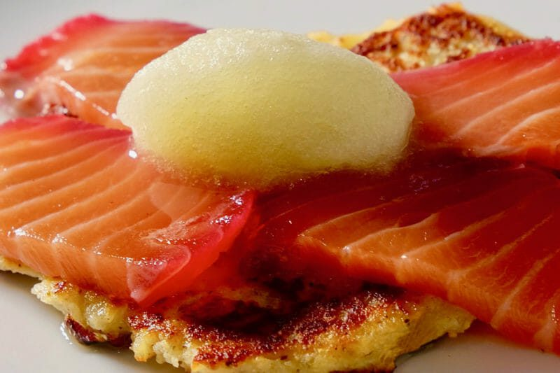 Beetroot cured salmon. Potato pancake. Cucumber fennel and gin sorbet. Appetiser Lunch Main Course Seafood