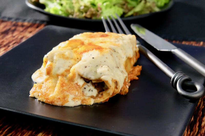 Cannelloni with a lentil stout and mushroom filling and blue cheese sauce Featured-Vegetarian Inspired by the flavors of the Mediterranean Main Course Vegetarian