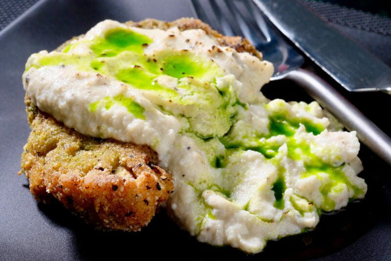 Crumbed cauliflower topped with a cauliflower ricotta garlic puree and parsley oil Featured-Vegetarian Main Course Vegetable Vegetarian