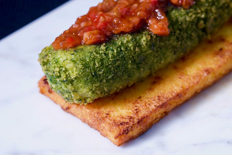 Herb crumbed fillet on grilled parmesan polenta. Strawberry relish. Appetiser Featured-More Favorites Inspired by the flavors of the Mediterranean Main Course Seafood Tapas