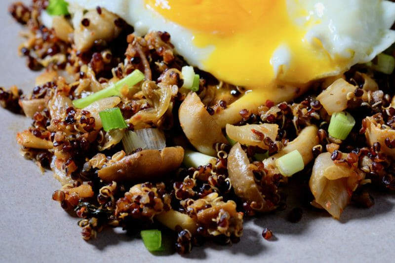 Kimchi and Mushroom Fried Quinoa Inspired by the flavors of Asia Main Course Vegetarian