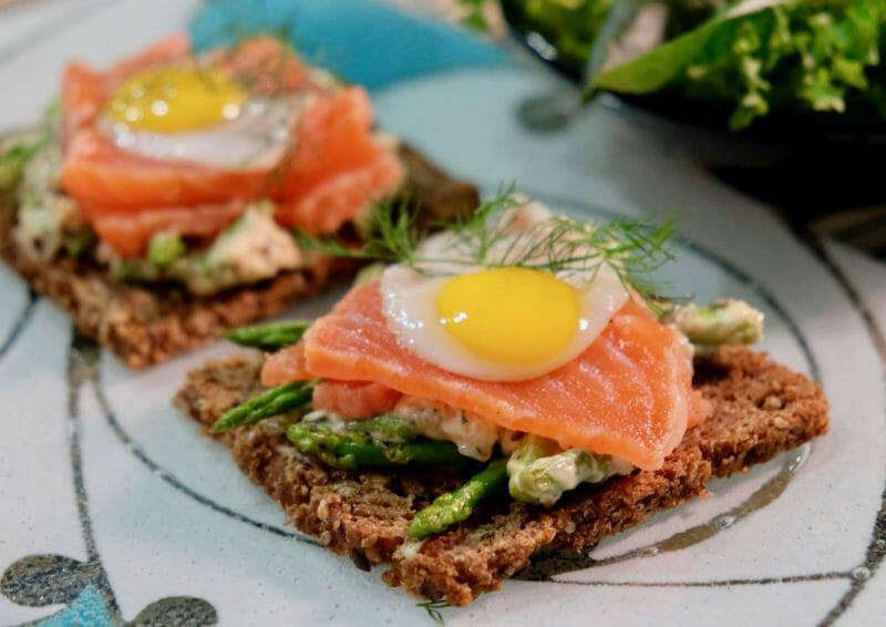 Pumpernickel topped with asparagus, citrus cured salmon, and quail eggs Inspired by the flavors of the Mediterranean Lunch Main Course Seafood Tapas
