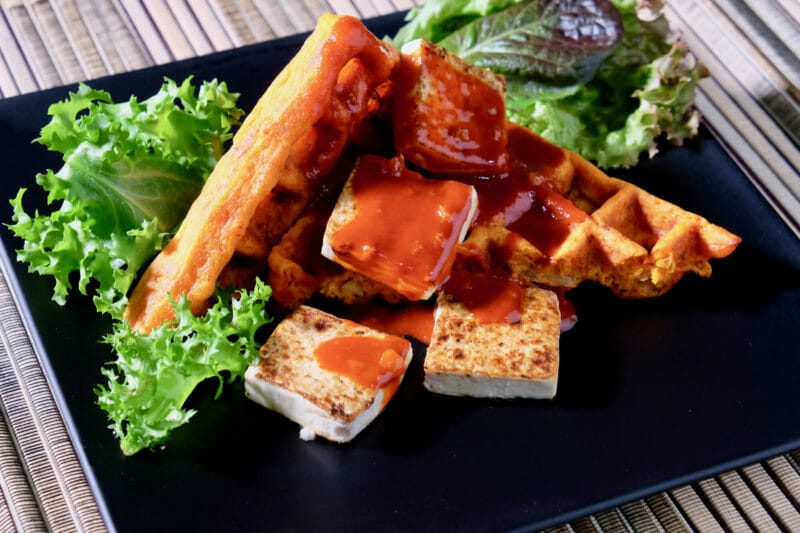 Kimchi waffles, seared tofu, gochujang drizzle Featured-Vegetarian Inspired by the flavors of Asia Main Course Vegetarian Waffles