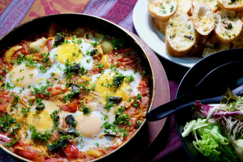 Shakshuka - North African eggs on tomato ragout Breakfast Featured-Vegetarian Inspired by the flavors of the Mediterranean Lunch Main Course