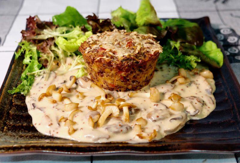 Veggie quinoa muffin. Mushroom mustard cream sauce Featured-Vegetarian Lunch Main Course Vegetarian